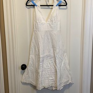 J Crew White 100% Cotton Halter Dress - Size 4